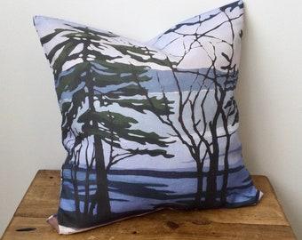 100% Linen Zippered Pillow Cover - Canadian Artwork - Georgian Bay - WINTER MELT