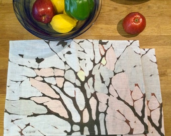 100% Linen Place Mats • Artist Print • Tree Print • Waiting For Spring • Set of 2