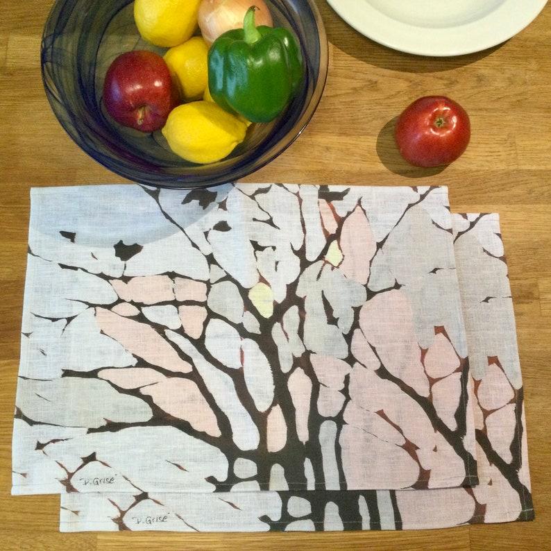 100% Linen Place Mats  Artist Print  Tree Print  Waiting image 0
