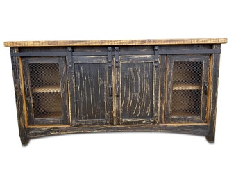 72 Inch Hi End Rustic TV Stand With Barn Door Sliding Western Solid Wood Black Distressed Rough Cut Finish Ships Already Assembled