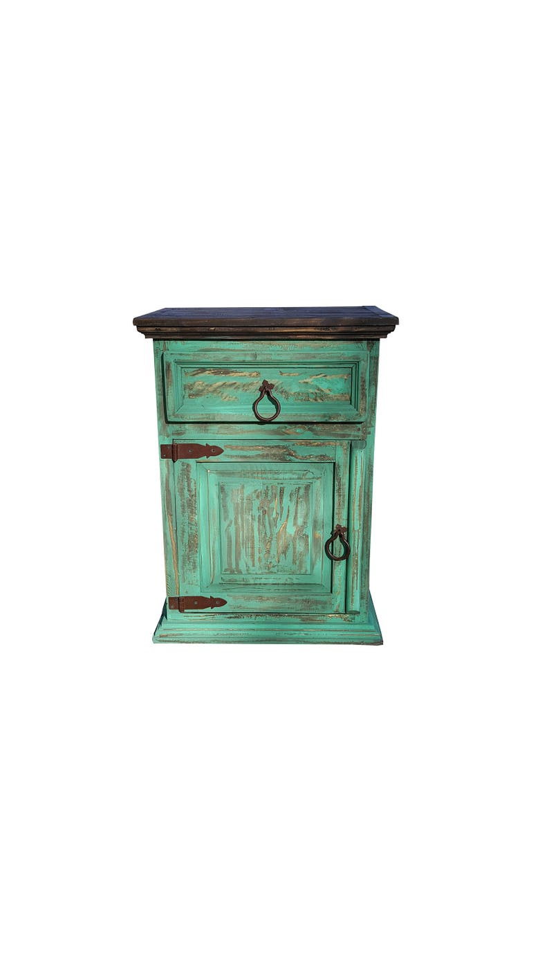 Set Of Rustic Handscrape Sea Green Nightstands End Tables Made With Solid Wood And Ships Alredy Assembled To Your Door Step Via Fedex