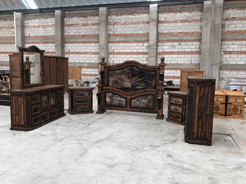 hi end medieval rustic cowhide inlay bedroom set includes bed dresser  mirror chest & 2 nightstands king size