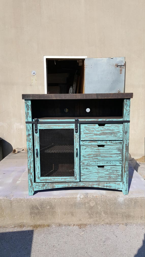 50 Inch Hi End Rustic Tv Stand Barn Door 3 Drawers Western Etsy
