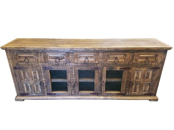 80 Inch Hi End Rustic Tv Stand 5 Doors 5 Drawers Western Solid Etsy
