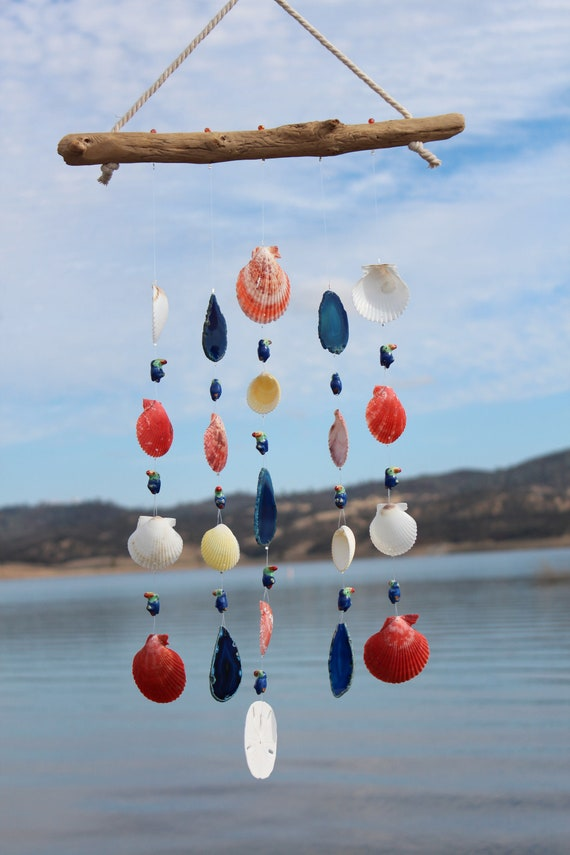 Outdoor Mobile Beach House Decor Handmade One-of-a-Kind Natural Shells Driftwood Seashell Wind Chimes Shell Wind Chimes Wind Chimes