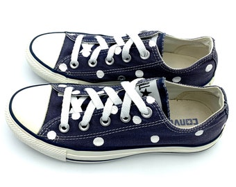 4b48aab517d0 NAVY BLUE Converse with Hand Painted White Polka Dots - Women s Size 6 - Men s  Size 4 -  2
