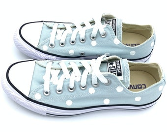 bc870586dd01d6 POLAR BLUE Converse with Hand Painted White Polka Dots - Women s Size 8 -  Men s Size 6