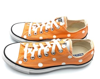 Women Converse All Star Polka Dot Ox White And Orange