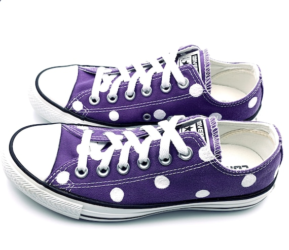 ELECTRIC PURPLE Converse with Hand Painted White Polka Dots Women's Size 7 Men's Size 5