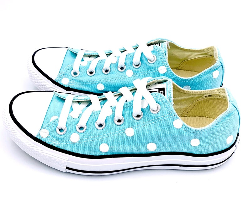 b87d730cf462 POOLSIDE Blue Converse with Hand Painted White Polka Dots - Women s Size 8  - Men s Size 6