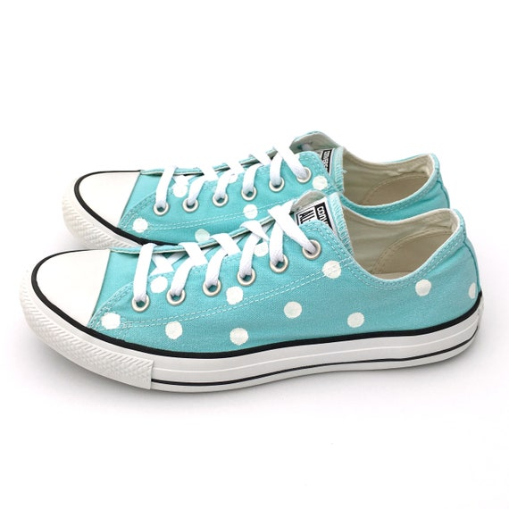 b182b7df948617 ARUBA Blue Converse with Hand Painted White Polka Dots - Women s Size 10 -  Men s Size 8