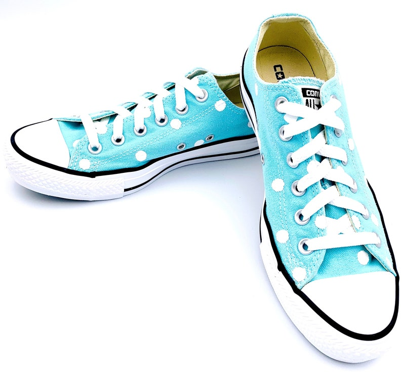 54e313f80f2ae POOLSIDE Blue Converse with Hand Painted White Polka Dots - Women's Size 8  - Men's Size 6