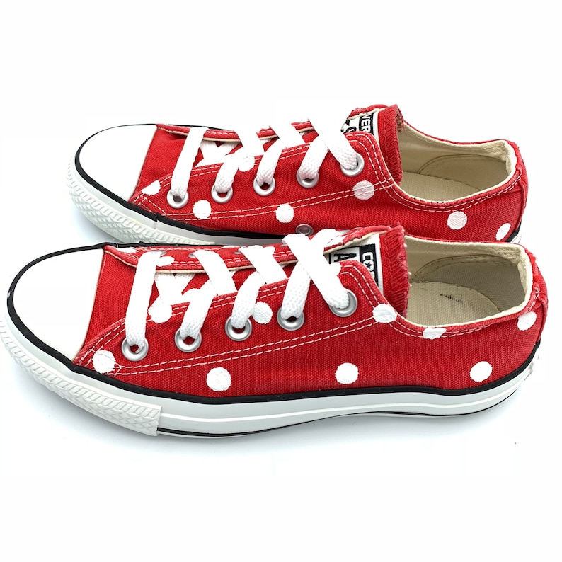 eca2aa236e3 RED Converse with Hand Painted White Polka Dots Women s