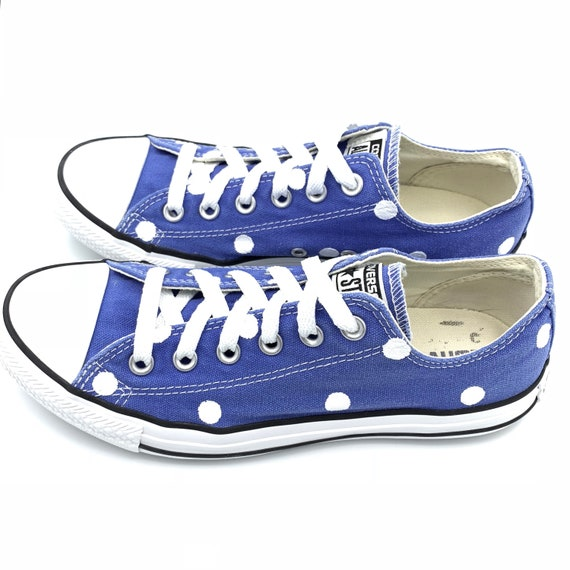 2a799ab0ca35 BAJA BLUE Converse with Hand Painted White Polka Dots