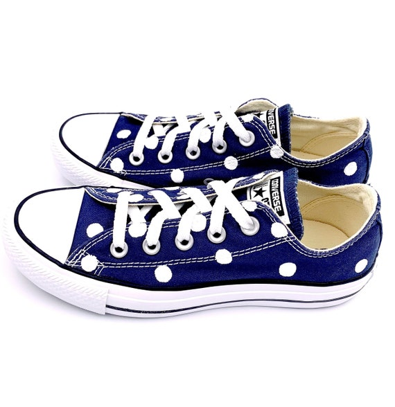 dcfff7a640b1 NAVY BLUE Converse with Hand Painted White Polka Dots