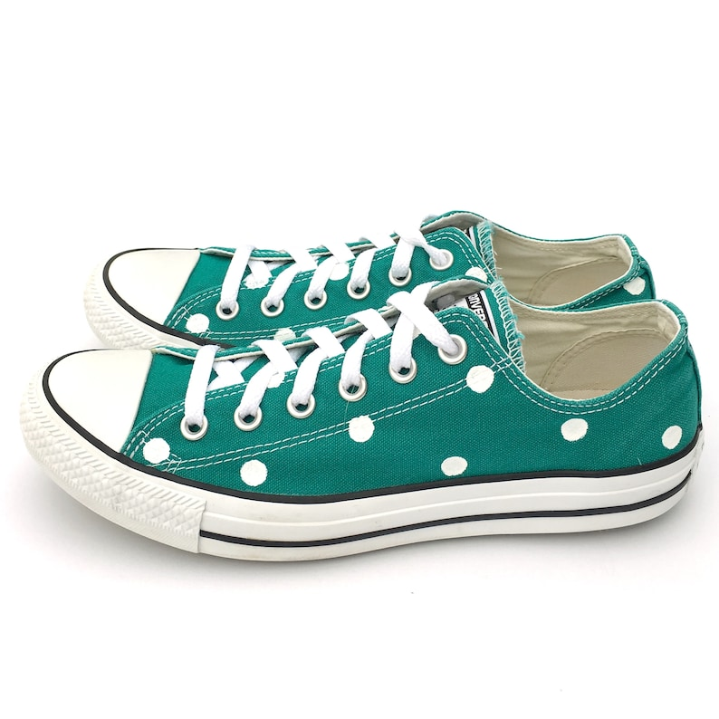 850cb02a467853 TEAL Green Converse with Hand Painted White Polka Dots - Women s Size 10 -  Men s Size 8
