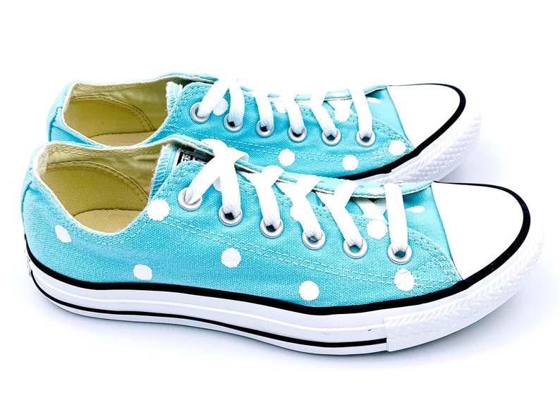 1fa918376c74 POOLSIDE Blue Converse with Hand Painted White Polka Dots