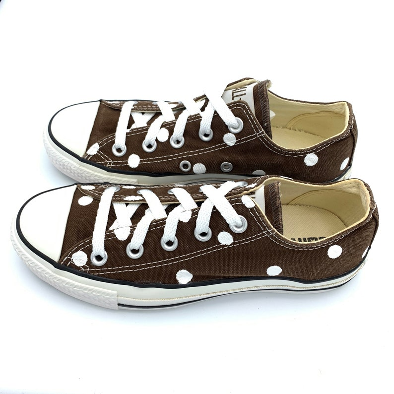 2832d564e15f CHOCOLATE BROWN Converse with Hand Painted White Polka Dots