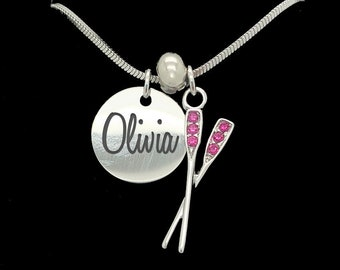 Personalized Crystal Stainless Steel Laser Engraved Custom Crew Pendant Name Necklace Rowing Pendant Choose Your Color