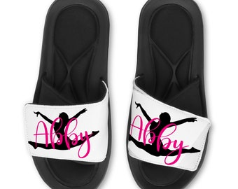 0109230b879e8a Personalized GYMNAST Slides Flip Flops Sandals Leaping - Custom Name or Team