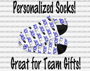 Girls Anklet Personalized Socks Personalized HOCKEY Socks One Size Fits Most Custom Team HOCKEY Socks Girls Hockey Team Gifts