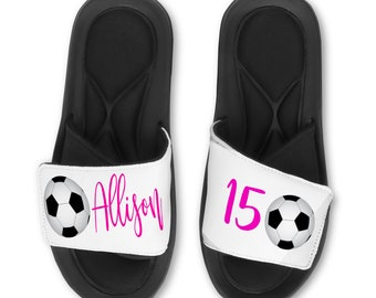 68752368 Personalized Custom Soccer Slides Flip Flops Sandals - Memory Foam Sole