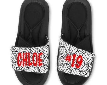 b9e599747f2e7f Personalized Custom VOLLEYBALL Sandals Slides Flip Flops - Memory Foam Sole
