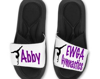 ad7b320984e52 Personalized GYMNAST Slides Flip Flops Sandals - Custom Name or Team