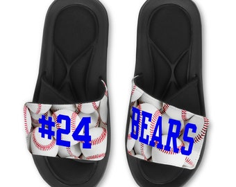 dc08d1560f4 Personalized Custom Baseball Slides Flip Flops Sandals - Name   Number