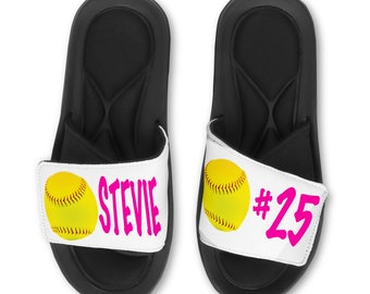 01a6dc1c9631b6 Personalized Custom Softball - Fastpitch Slides Flip Flops Sandals - Memory  Foam Sole