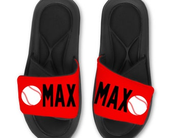 053d3d8661f0f Personalized BASEBALL Slides Flip Flops Sandals - Customize with Your Name  and or Number!