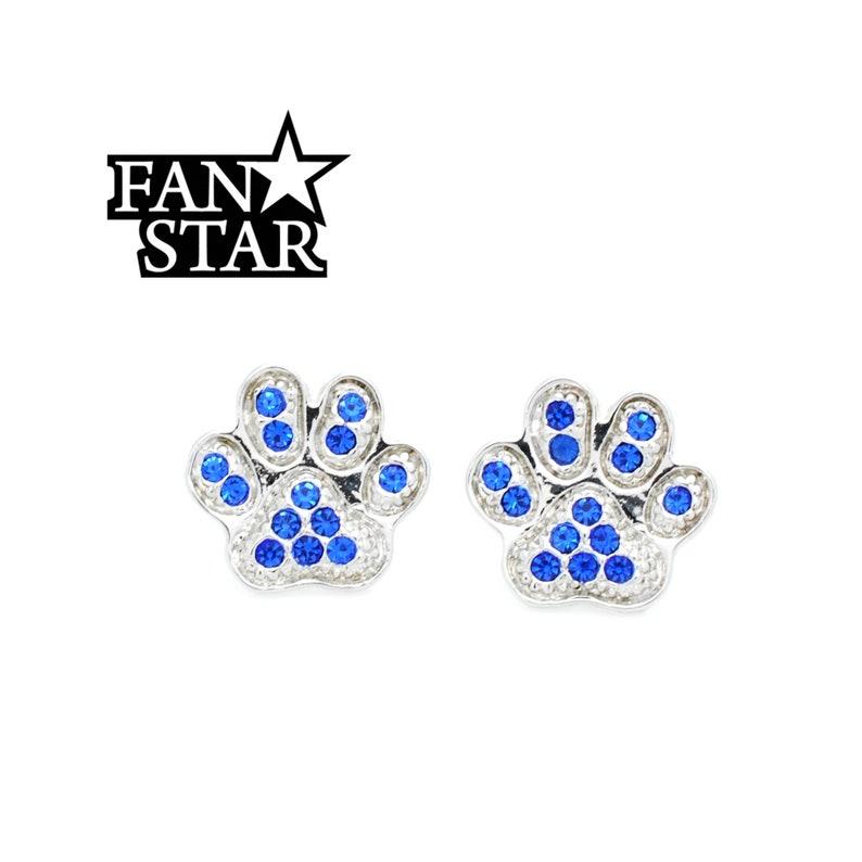 Paw Post Earrings Crystal Paw Print Earrings Rhodium *Non Tarnishing*