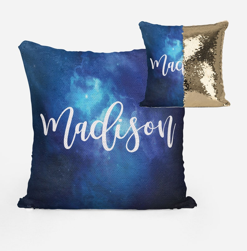 Personalized Dark Blue Space Mermaid Sequin Flip Pillow