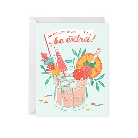 Birthday Cocktail Card Birthday Card Happy Birthday Card Etsy