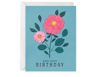 Floral Birthday Card - Birthday Card - Happy Birthday Card Blank Inside