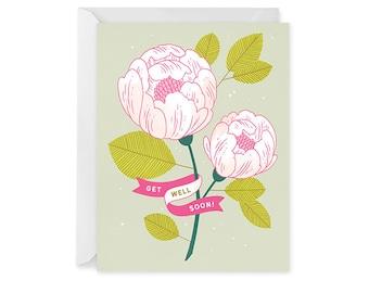 Get Well Soon Card - Sympathy Card - Flower Card - Bouquet Card - Single Card Blank Inside