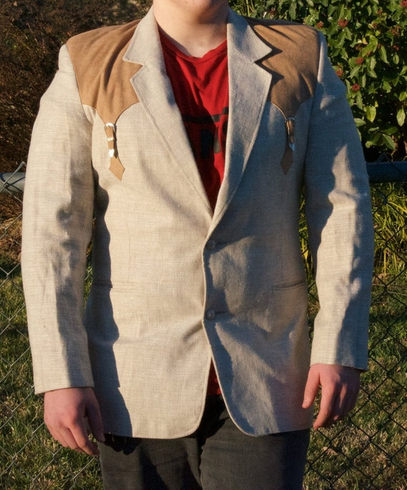 Tan and Brown Western Suit Jacket
