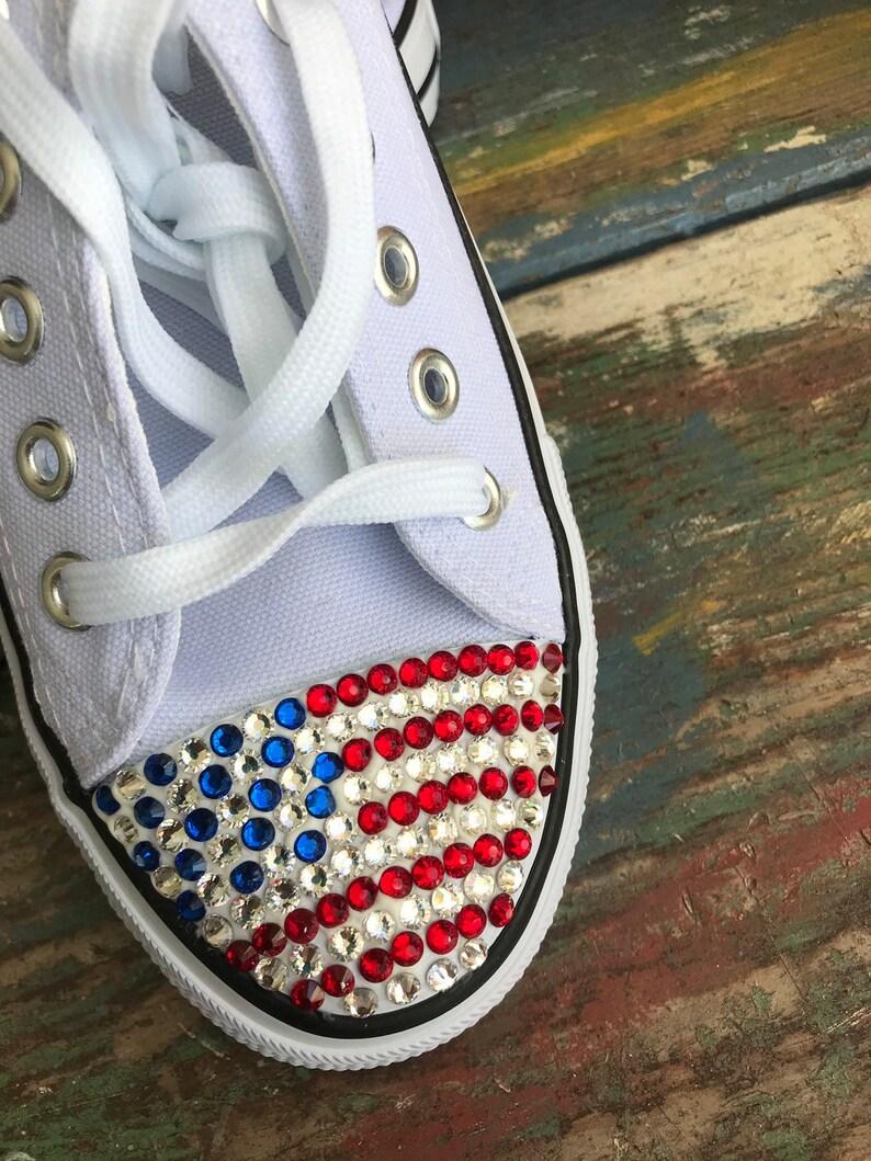 Fourth of July USA rhinestone Womens chuck sneakers