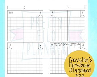 Undated Printable Midori Traveler's Notebook Size Inserts Banner Quadrille