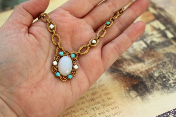 Vintage MUSI Ichthys Rhinestone and Vintage West German Crystal Necklace