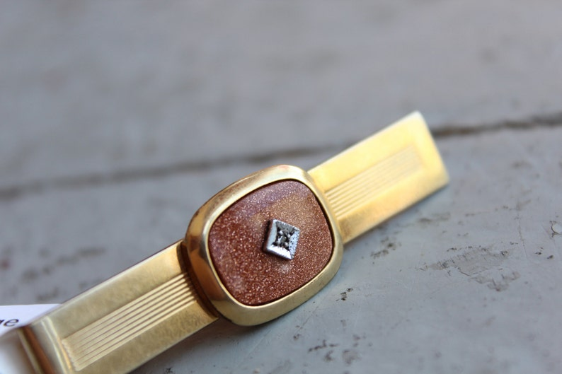 Vintage Anson Diamond Chip Goldstone Tie Clip  Vintage Anson Men/'s Jewelry  Gold Tie Clip  Vintage Goldstone