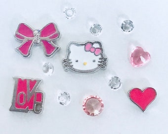 2d8e00556 Hello Kitty Inspired Theme Set Love Bow Cat Floating Charms for Memory Floating  Locket NEW!