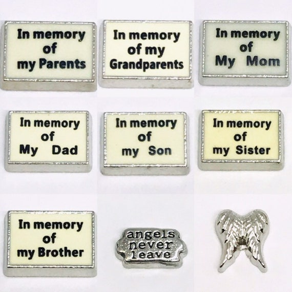 Floating Charms In Memory of Dad Grandpa Son Brother fits Origami Lockets