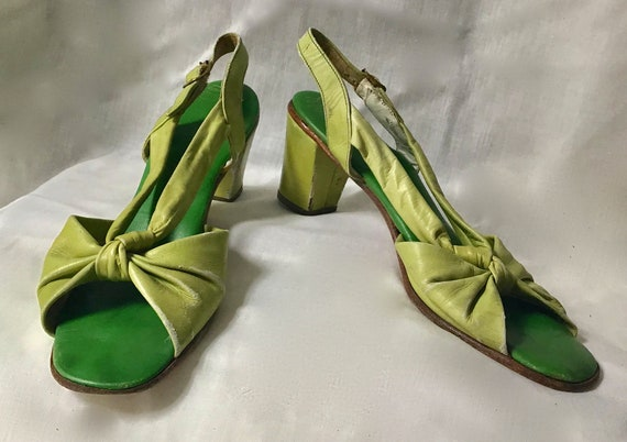 70's Lime Green Leather Strappy Sandal