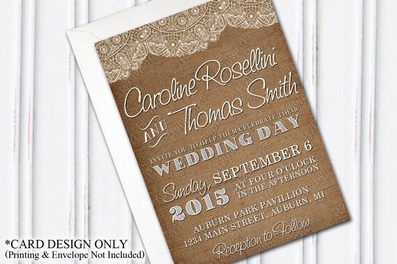 Lace Themed Wedding Invitations: Burlap & Lace Wedding Invitation Burlap Themed Wedding