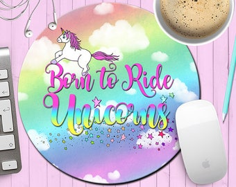 Unicorn Mousepad, Born to Ride Unicorns Mouse Pad, Rainbow Unicorn Mousepad, Funny Mousepad, Gift for Co-Worker, Funny Gifts,  Mouse Mat