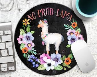 No Prob-Lama Mousepad, Llama Mouse Pad, Chalk Llama Mousepad, Funny Mousepad, Gift for Co-Worker, Funny Gifts,  Mouse Mat, Alpaca, Lama