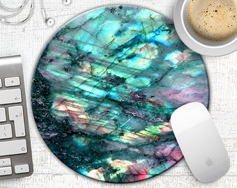 Labradorite Gemstone Mouse Pad, Rainbow Moonstone MousePad, Turquoise Flash Stone Mouse Pad, Boho Chic, Butterfly Wing Stone Mouse Pad
