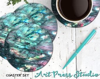 Labradorite Coasters, Rainbow Moonstone Coasters, Set of 4 Cork Back Boho Gemstone Coasters, Spiritual Labradorite Stone
