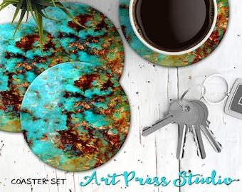 Turquoise Stone Coasters, Set of 4 Cork Back Faux Turquoise Coasters, Boho Turquoise Stone Coaster Set